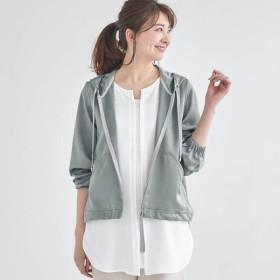 ジャケット レディース ベルメゾン シャイニー素材裾ドロスト使いフードブルゾン 「グレー」