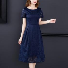 夏の新しいスタイルの洗練されたミニマリストスリムビッグスイングスカートスリムウエストロングレースのドレス