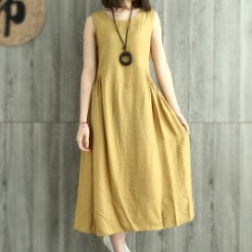 ワンピース ロングワンピース 大きいサイズ 夏ワンピース 韓国 ファッション レディース ワンピース 夏 ロング丈 綿麻 ノースリーブ
