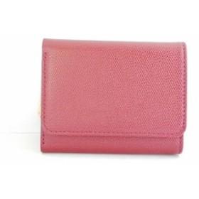 ツモリチサトキャリー 3つ折り財布 レディース 美品 トリロジー 57946 レッド×ピンク バイカラー/ミニ レザー【中古】