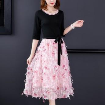 新しい女性の気質甘いプリントウエストロングスカートステッチフェイクツーピースドレス女性の夏