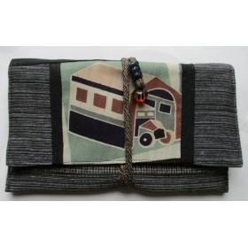 4343 #送料無料 麻の着物で作った財布・ポーチ