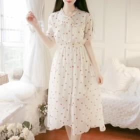 夏の新しい韓國のファッションスリムスリム甘いステッチシフォン花柄のドレスの潮