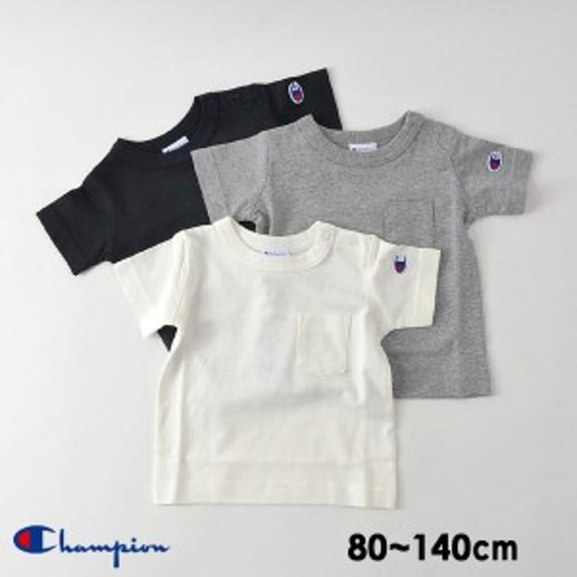 チャンピオン L21902-92-K19-14M シンプルポケ付Tシャツ[80~140] キッズ ベビー トップス 半袖 ポケT ポケット 無地 ワンポイント ロゴ