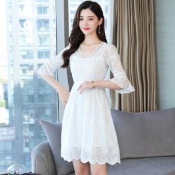 夏の白いシフォンドレス小さな新鮮な學生休暇ビーチスカート韓國の優しい超妖精のスカートの気質