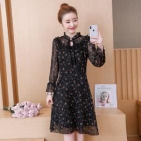 花柄シフォンドレス春と夏の新しいファッションの気質韓國の小さな長袖のスカート
