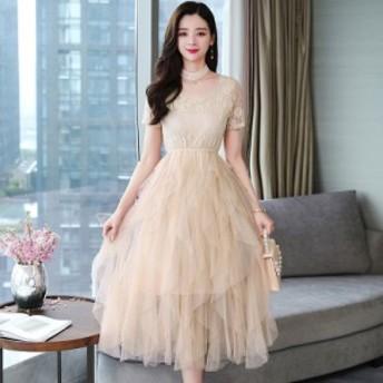黒のスカートの女性の長いセクションで非常に妖精のドレス夏の新しい半袖メッシュ不規則