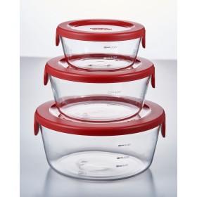HARIO 耐熱ガラス製保存容器丸 3個セット○SYTN2518R_jyosetsu レッド キッチン用品