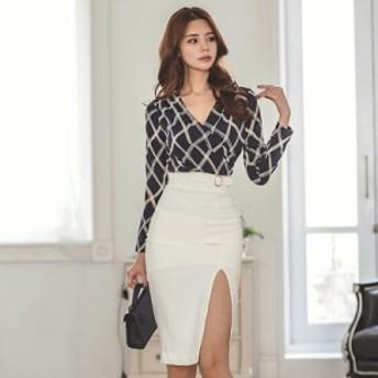 大人っぽいのできる女性を演出 深Vネックシャツ&スリット入りタイトスカート お呼ばれ 大人かわいい ワンピース 結婚式 ドレス フォー