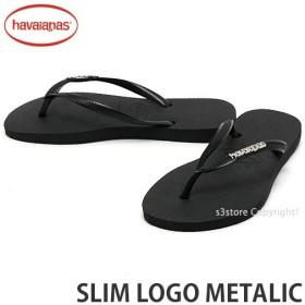 6a03eb47a96c ハワイアナス スリム ロゴ メタリック havaianas SLIM LOGO METALIC ビーチサンダル ビーサン サンダル レディース  カラー:Black