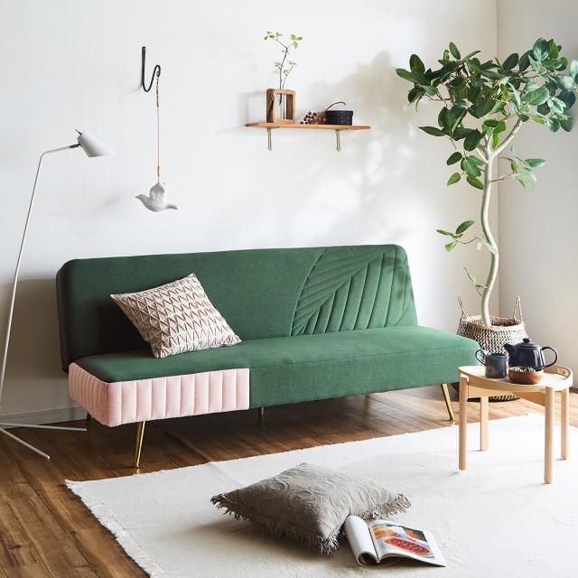 リーフ柄のビンテージ調ソファーベッド