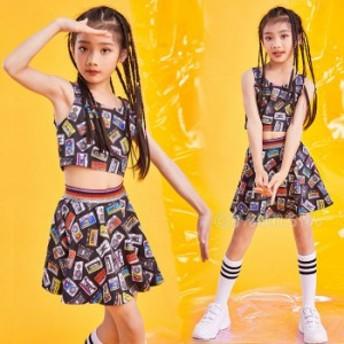 キッズチア衣装 タンクトップ キッズダンス衣装 セットアップ ヒップホップ 衣装 チアガール 衣装 ジャズダンス HIPHOP jazz 上下