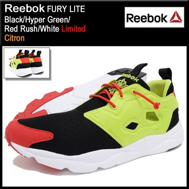 リーボック Reebok スニーカー メンズ 男性用 フューリー ライト Black/Hyper Green/Red Rush/White 限定(FURY LITE Limited Citron V66618)
