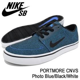 ナイキ NIKE スニーカー メンズ 男性用 SB ポートモア キャンバス Photo Blue/Black/White SB(nike SB PORTMORE CNVS SB 723874-400)