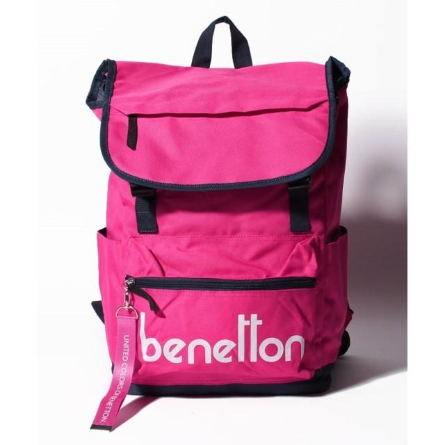 BENETTON ベネトン 背面ファスナー付きロゴフラップバックパック