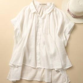 大人のお洒落 風合いリネンブラウス ブラウス レディース トップス シャツ 半袖 リネン