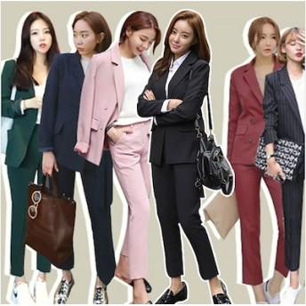 パンツスーツ2点セット☆ 入学式 入園式 スーツ ママ おしゃれ ファッション リクルート ◆ブラックフォーマル OL通勤スーツ