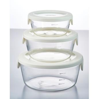 HARIO 耐熱ガラス製保存容器丸 3個セット○SYTN2518OW_jyosetsu オフホワイト キッチン用品