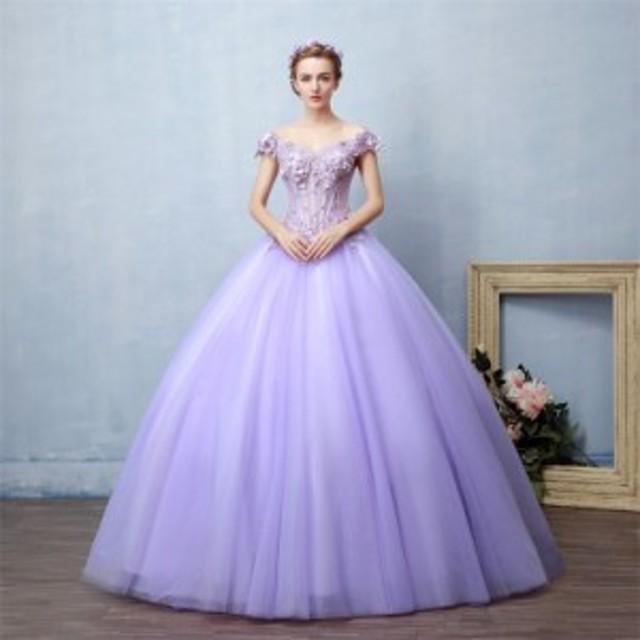 豪華 オフショルダー カラードレス 超人気 ロングドレス パーティードレス ウェディングドレス チュールスカート 撮影 発表会 編み上げ