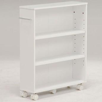 本棚 書棚 隙間収納 スライド 幅16cm 高さ68cm ホワイト 隙間本棚 スライド本棚 クローゼット本棚 クローゼットラック 隙間ワゴン 隙間棚 スリム 隙間