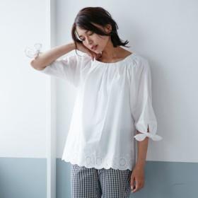 シャツ ブラウス レディース 綿100%ナチュラル刺繍リボン袖ブラウス 「オフホワイト」