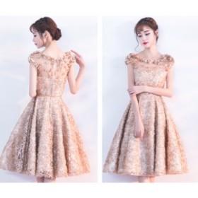 パーティードレス  ひざ丈オケージョンワンピース 結婚式 お呼ばれ 二次会 透け感レース  チュールスカート イブニングドレス