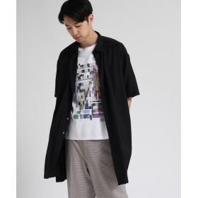 ティーケー タケオキクチ ツイルロングシャツ 5分袖 メンズ ブラック(019) 02(M) 【tk. TAKEO KIKUCHI】