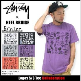 ステューシー STUSSY×HEEL BRUISE Logos Tシャツ 半袖 コラボ(stussy tee トップス ヒール ブルース Wネーム メンズ・男性用 3902605)