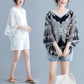 2019新作 刺繍トップス レディース 韓国ファッション 着痩せ ゆったり感 体型カバー 送料無料 ns-054