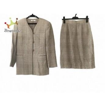 ダックス DAKS スカートスーツ レディース 美品 グレー×ライトグレー×アイボリー スペシャル特価 20190821