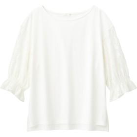 (GU)レーススリーブT(5分袖) OFF WHITE XL