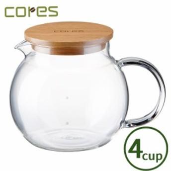 Cores コレス ハンドメイドガラスサーバー4カップ C504【コーヒー/紅茶/サーバー/ガラス/天然木】