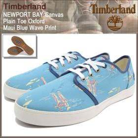 ティンバーランド Timberland スニーカー メンズ ニューポート ベイ キャンバス プレーントゥ オックスフォード Maui Blue Wave Print(A14WP)