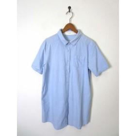 【中古】ショコラフィネローブ chocol raffine robe ワンピース チュニック シャツ コットン 半袖 ブルー レディース