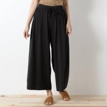 パンツ レディース クロップドパンツ さらっと履き易いカットソーガウチョパンツ 「ブラック」