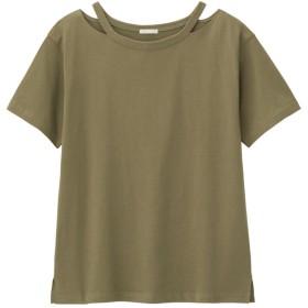 (GU)ネックカットアウトT(半袖) GREEN XL