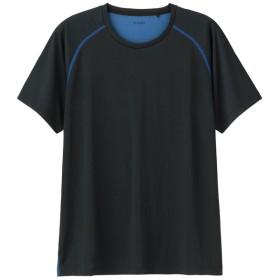 (GU)クルーネックT(半袖)(ステッチ)GS BLACK L