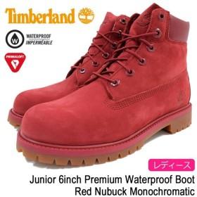 ティンバーランド Timberland ブーツ レディースサイズ ジュニア 6インチ プレミアム ウォータープルーフ Red Nubuck Monochromatic(A13HV)