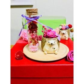 再販 ピンクローズ ハリネズミちゃん とフラワーボトル
