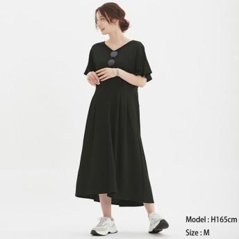 (GU)ウエストタックワンピース(半袖) BLACK XL