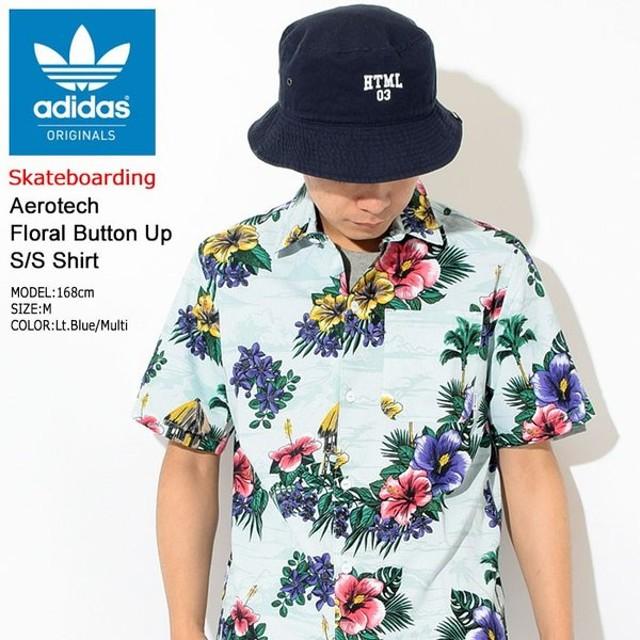 アディダス adidas シャツ 半袖 メンズ エアロテック フローラル ボタン アップ オリジナルス(Aerotech Floral Button Up S/S Shirt CF5809)