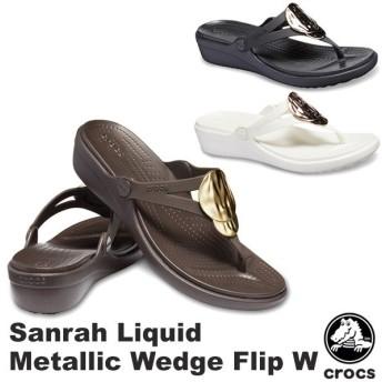 クロックス CROCS サンラ リキッド メタリック ウェッジ フリップ ウィメン sanrah liquid metallic wedge flip w レディース サンダル 女性用 [BB]