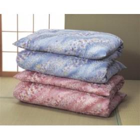 高級綿サテン敷布団2色組 花柄(ピンク系+ブルー系)