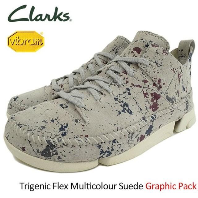 クラークス CLARKS スニーカー メンズ 男性用 トライジェニック フレックス マルチカラー スエード グラフィックパック(Trigenic 26118582)