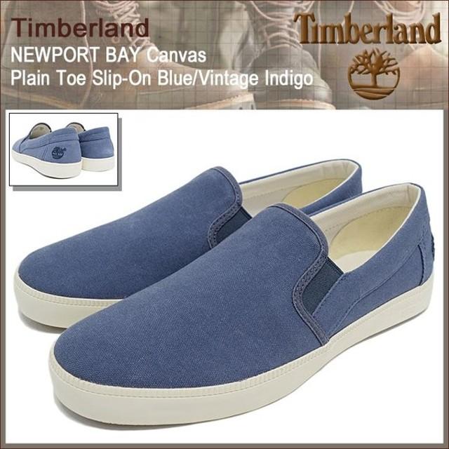 ティンバーランド Timberland スニーカー メンズ ニューポート ベイ キャンバス プレーントゥ スリップオン Blue/Vintage Indigo(A16EP)