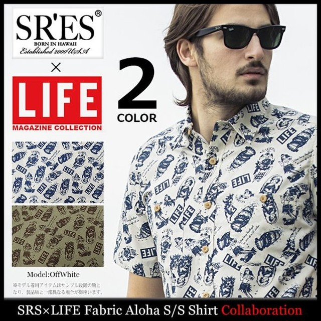エスアールエス シャツ 半袖 SRES メンズ ライフ ファブリック アロハ コラボ(SRS×LIFE Fabric Aloha S/S Shirt Collaboration トップス)
