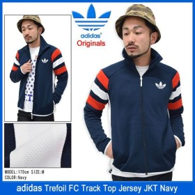 アディダス adidas トレフォイル FC トラック トップ ジャージー ジャケット ネイビー オリジナルス(Originals メンズ 男性用 S18686)