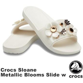 クロックス CROCS クロックス スローン メタリック ブルームズ スライド ウィメン crocs sloane metallic blooms slide w レディース サンダル 女性用 [BB]