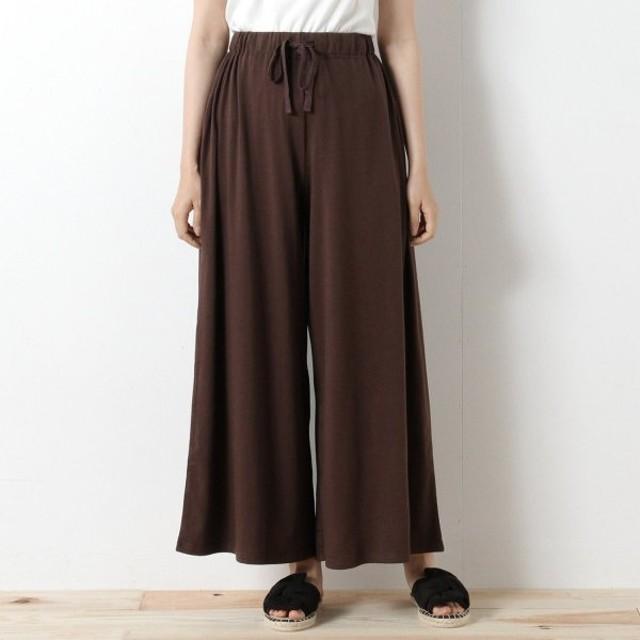 パンツ レディース クロップドパンツ さらっと履き易いカットソーガウチョパンツ 「ブラウン」