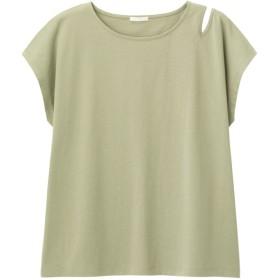 GU アシンメトリーカットアウト半袖Tシャツ